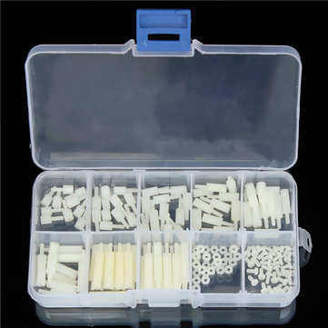 Suleve? M2NH2 <b>M2</b> Nylon Screw White Hex Screw Nut Nylon PCB Standoff Assortment Kit 140pcs