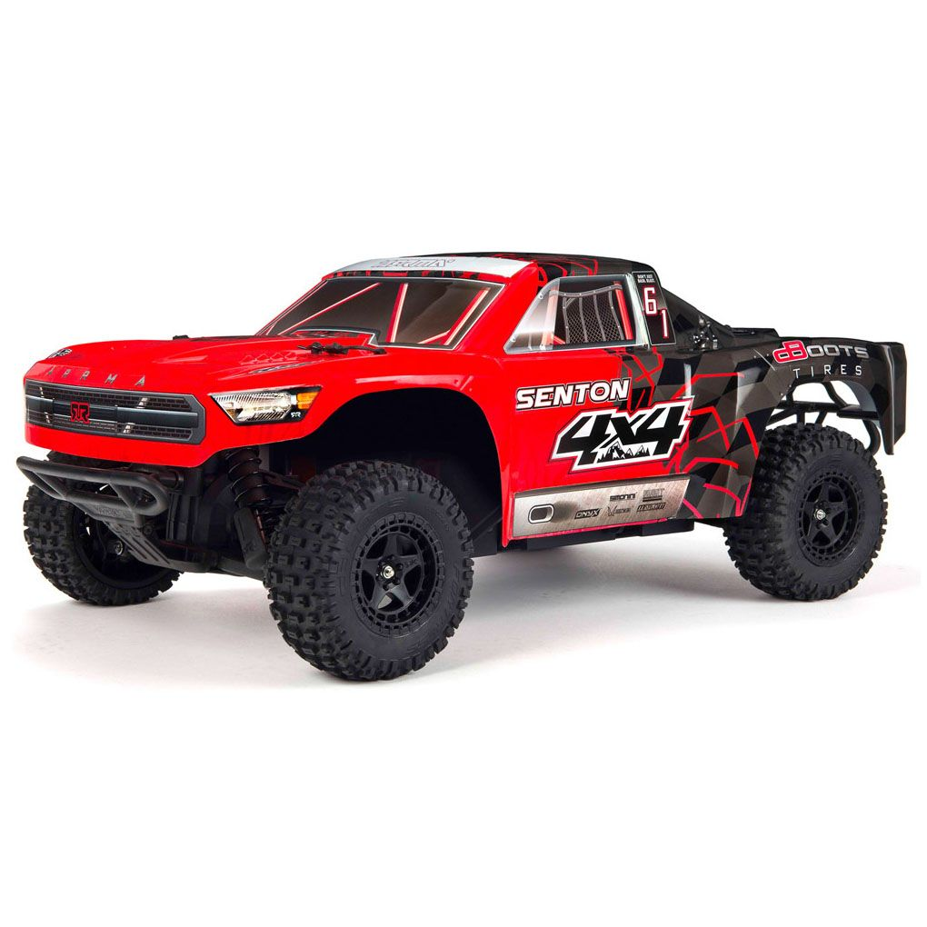 ARRMA 1/10 SENTON MEGA 550 Brushed 4WD Short Course Truck RTR, Red/Black