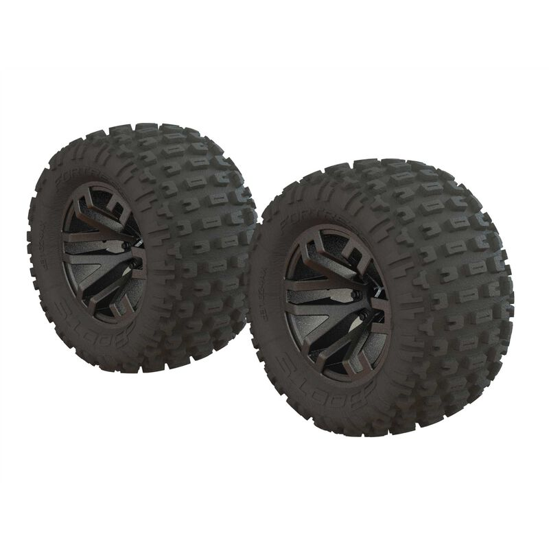 ARRMA Dboots 'Fortress MT' Tire Set Glued Gun Metal (2)