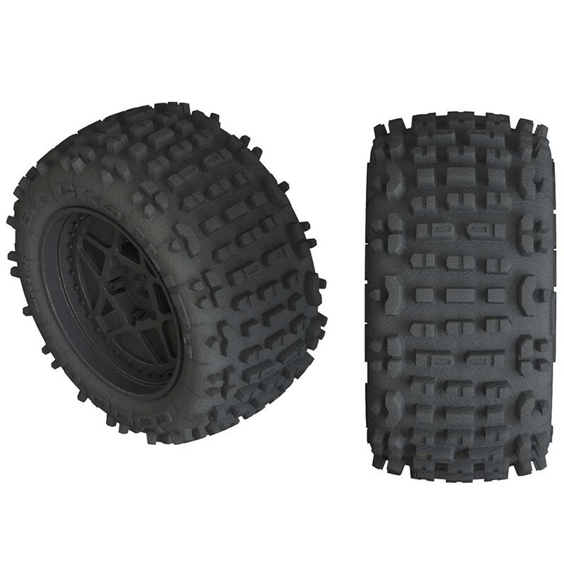 ARRMA 1/10 dBoots Backflip LP Front/Rear 3.8 Pre-Mounted Tires, 17mm Hex, Black (2): 4S AR550050