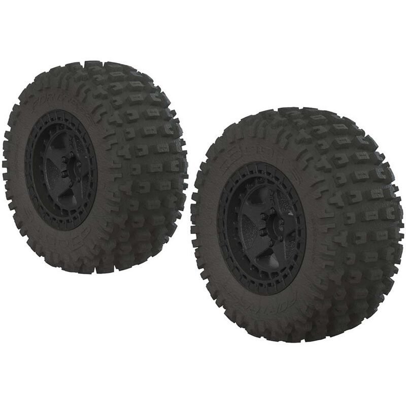 ARRMA 1/10 dBoots Fortress SC 2.2/3.0 Pre-Mounted Tires, 14mm Hex, Black (2) AR550042