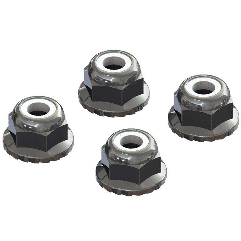 ARRMA Flanged Nyloc Locknut 4mm, Silver (4) AR708008