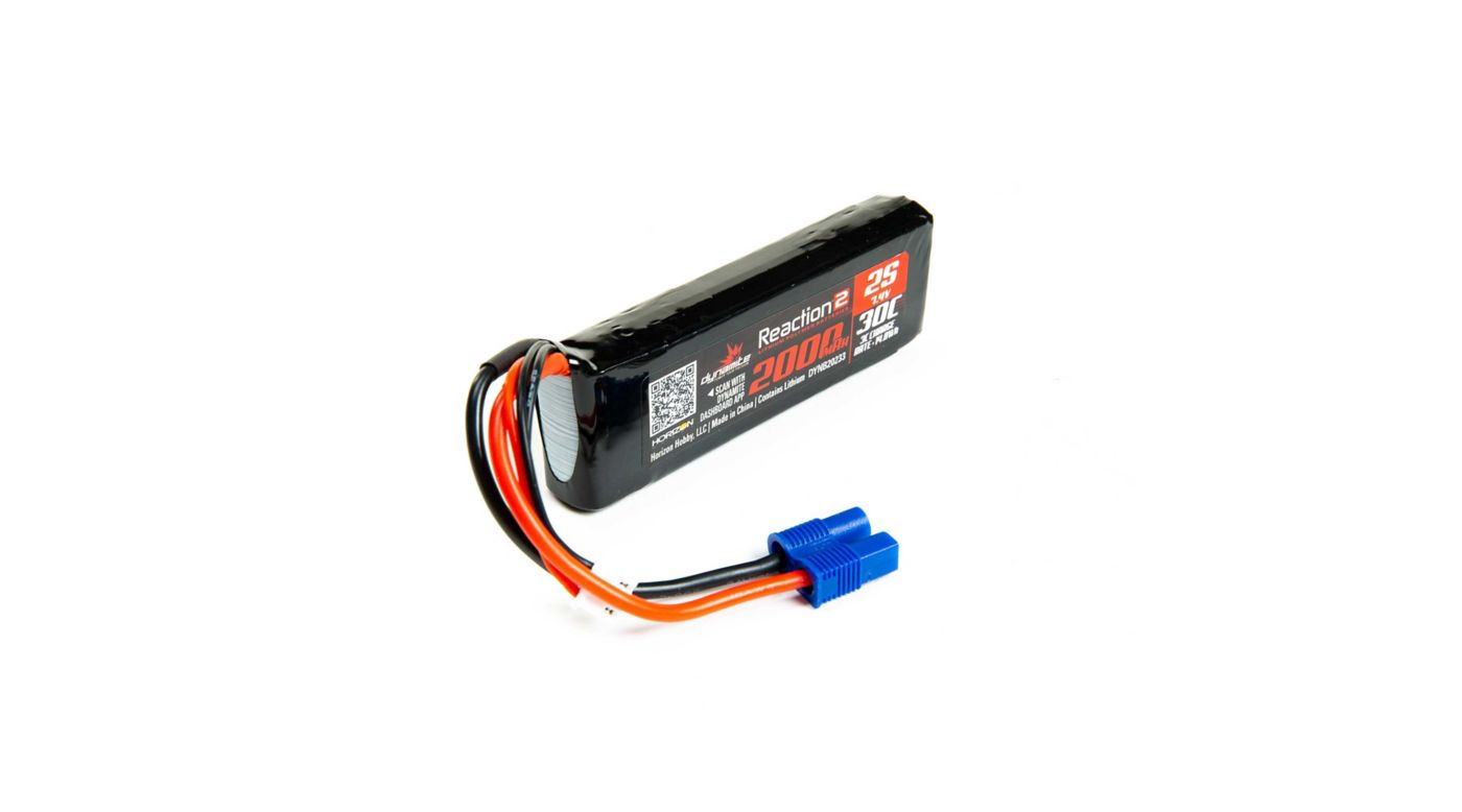 Dynamite Reaction 2.0 7.4V 2000mAh 30C 2S LiPo Battery, Long, EC3 Minis TWH