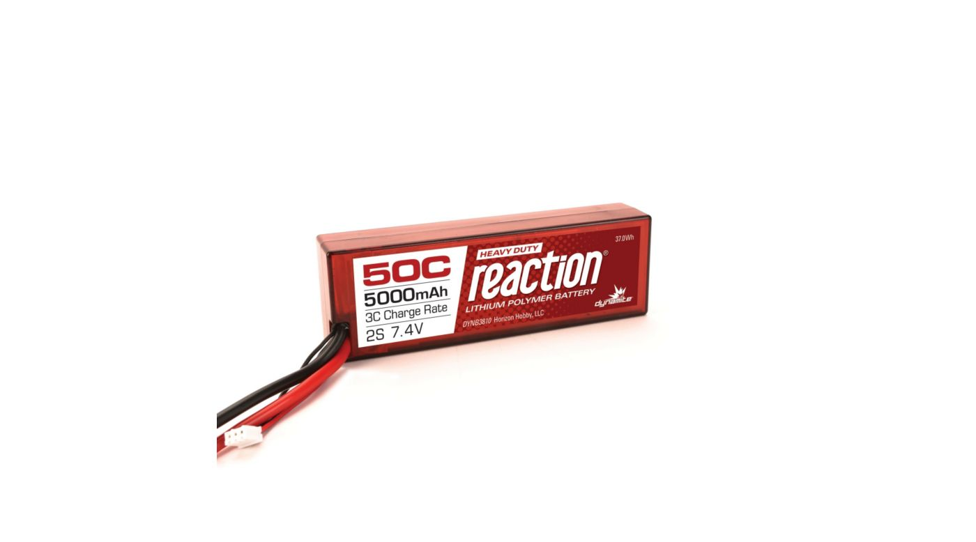 Dynamite Reaction HD 7.4V 5000mAh 50C 2S LiPo, Hardcase: EC5