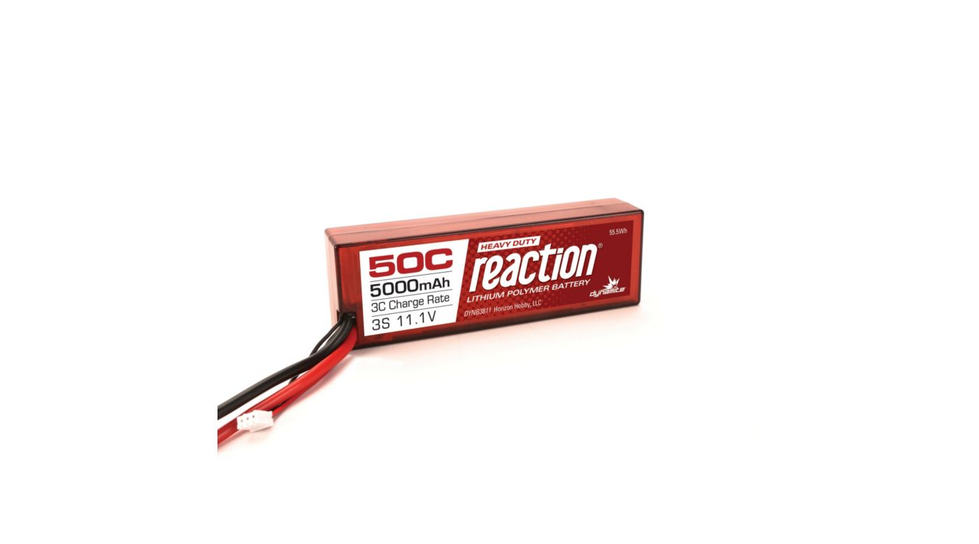 Dynamite Reaction HD 11.1V 5000mAh 50C 3S LiPo Battery, Hardcase: EC5