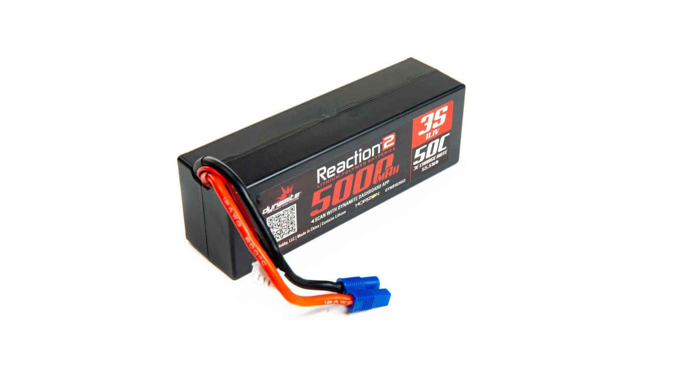 Dynamite Reaction 2.0 11.1V 5000mAh 50C 3S Hardcase LiPo Battery, EC3