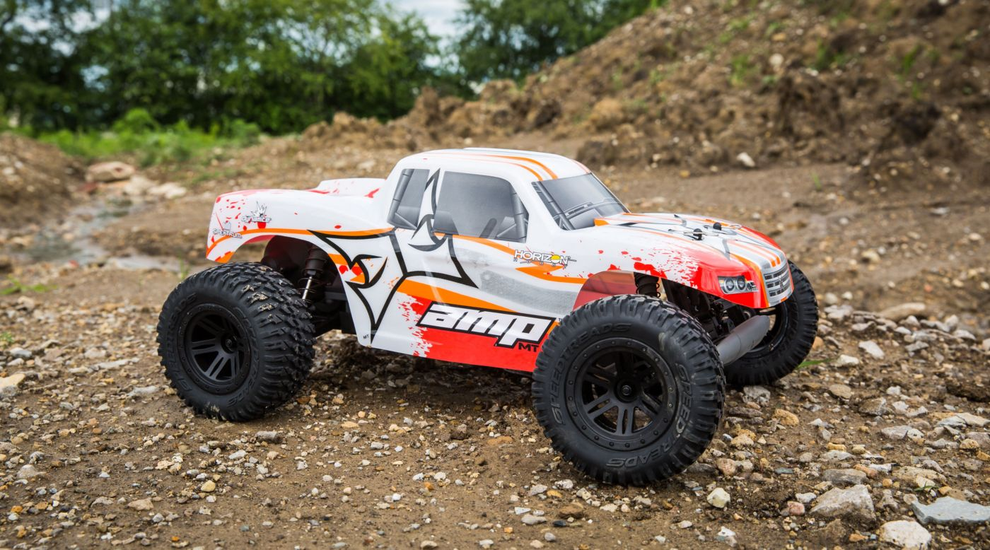 ECX 1/10 AMP MT 2WD Monster Truck RTR, White/Orange