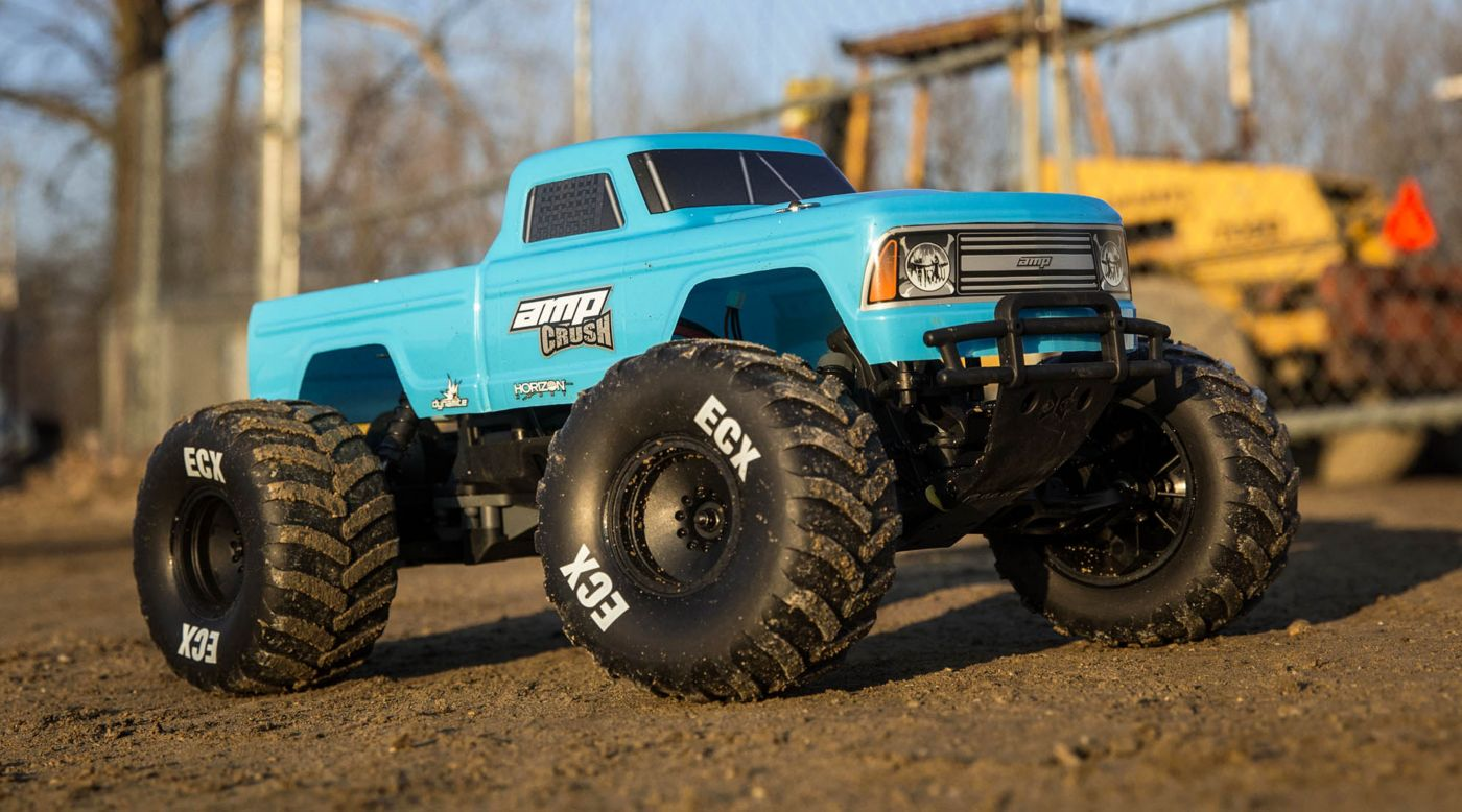ECX 1/10 Amp Crush 2WD Monster Truck Brushed RTR, Blue