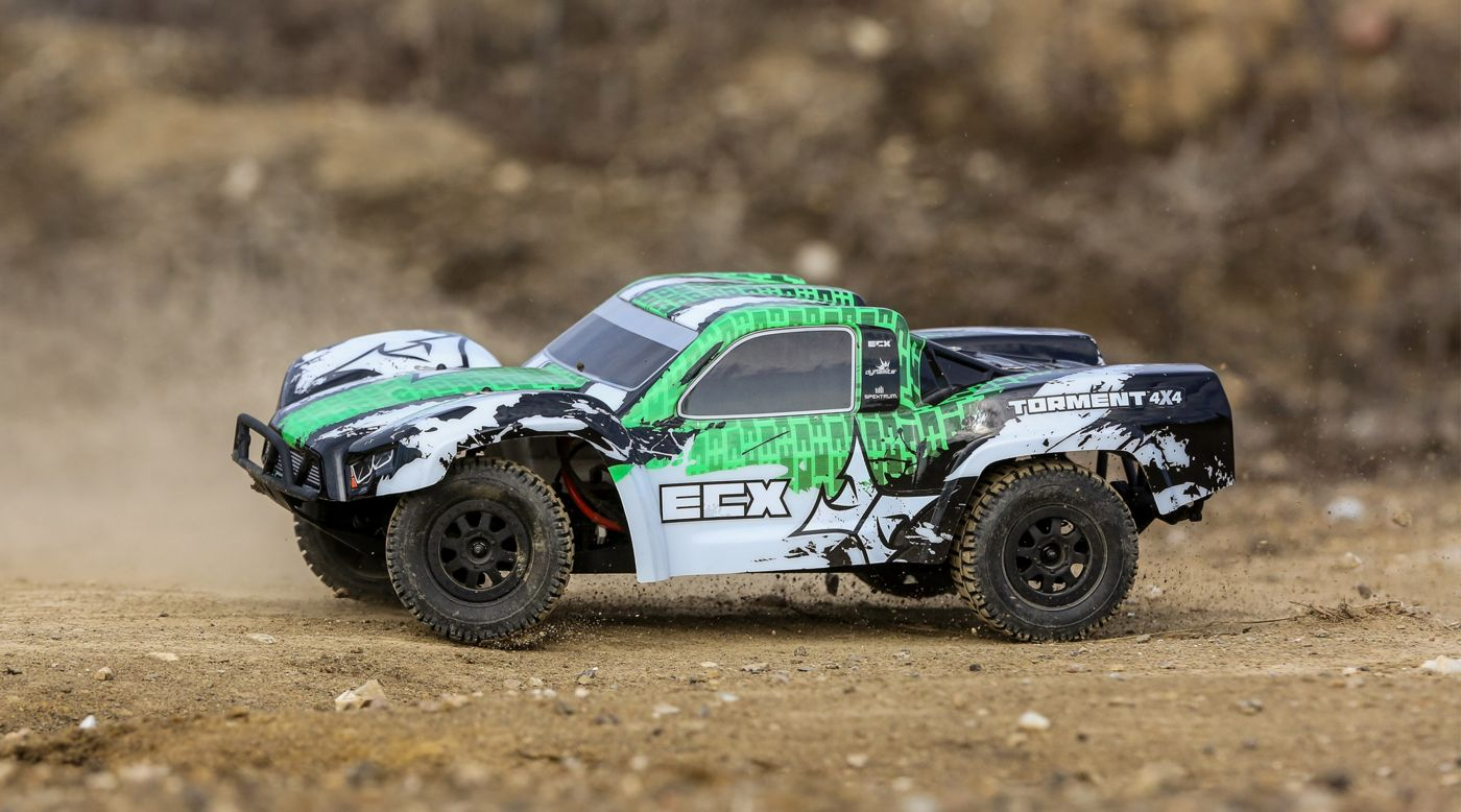 ECX 1/10 Torment 4WD SCT Brushed RTR, White/Green