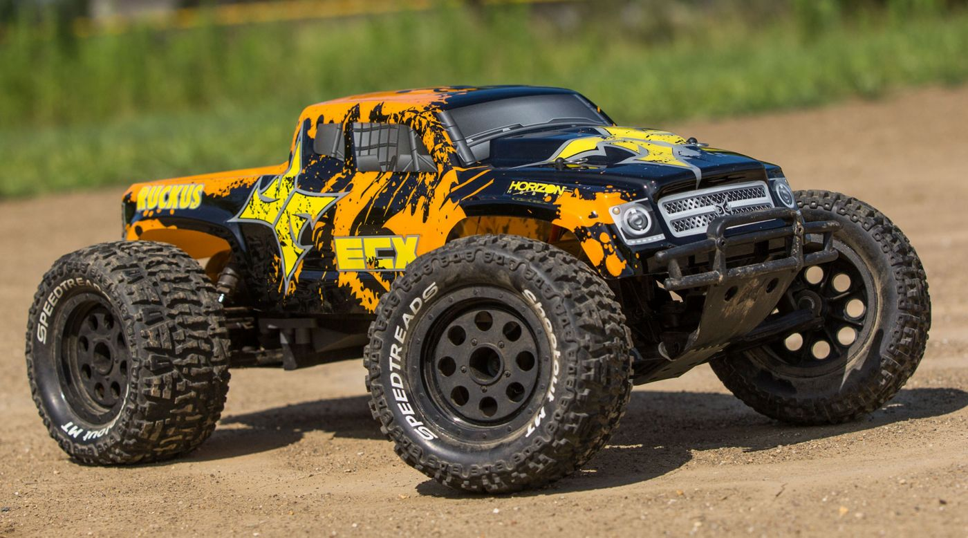 ECX 1/10 Ruckus 2WD Monster Truck Brushed with LiPo RTR, Black/Orange