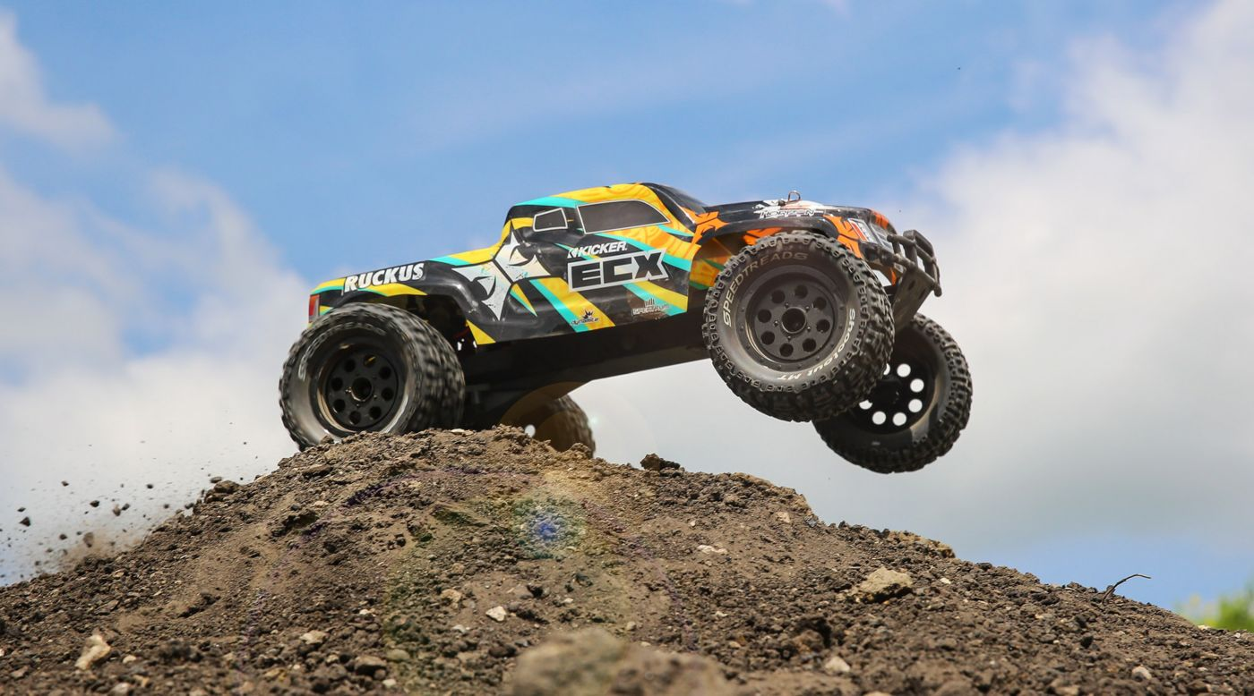 ECX 1/10 Ruckus 2WD Monster Truck Brushed RTR, Black/Yellow