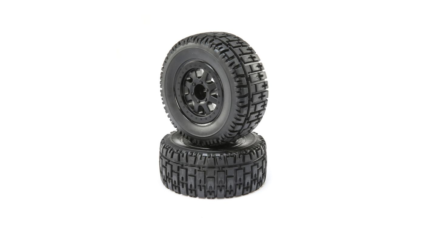 ECX Front and Rear Wheel with Premounted Tire, Black (2): 1/10 2WD 4WD Torment
