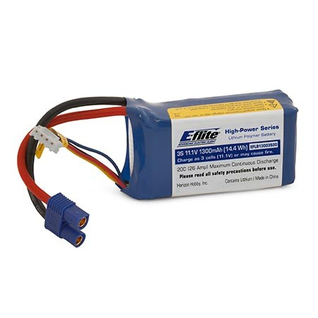 E-flite 1300mAh 3S 11.1V 20C LiPo with EC3 Connector