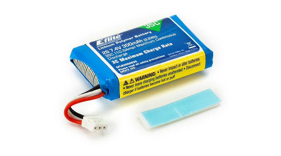 E-Flite 300mAh 2S 7.4V 35C LiPo Battery - SNHE