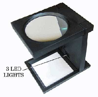 "FOLDING MAGNIFIER - 4¼"" DIAMETER LENS WITH LED LIGHT - SNHE"