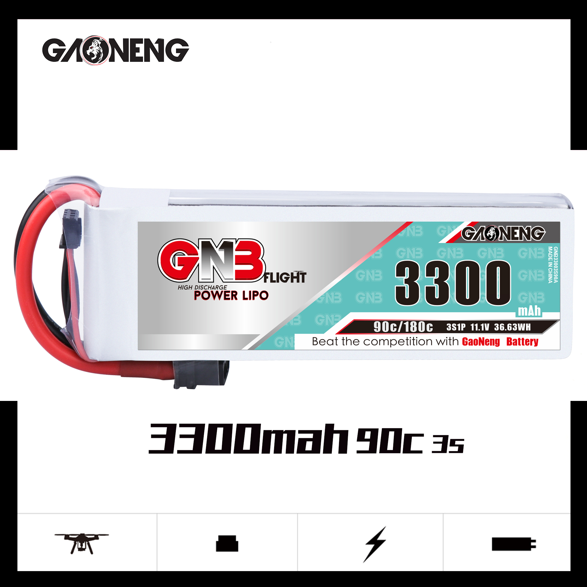 GNB 3S 3300mah 90C LIPO BATTERY
