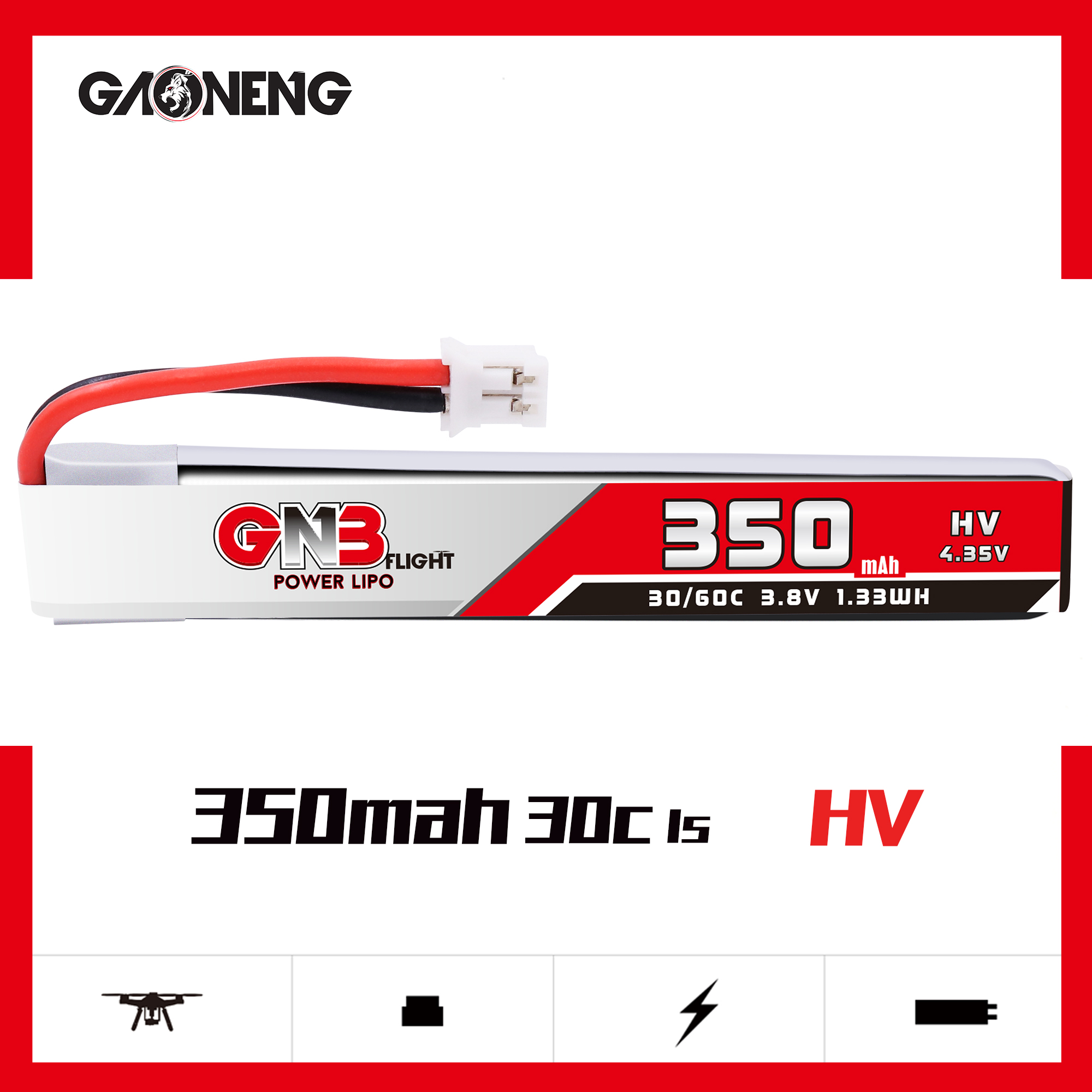 GNB 1S HV 350MAH 3.85V 30/60C LIPO BATTERY (W/CABLE)