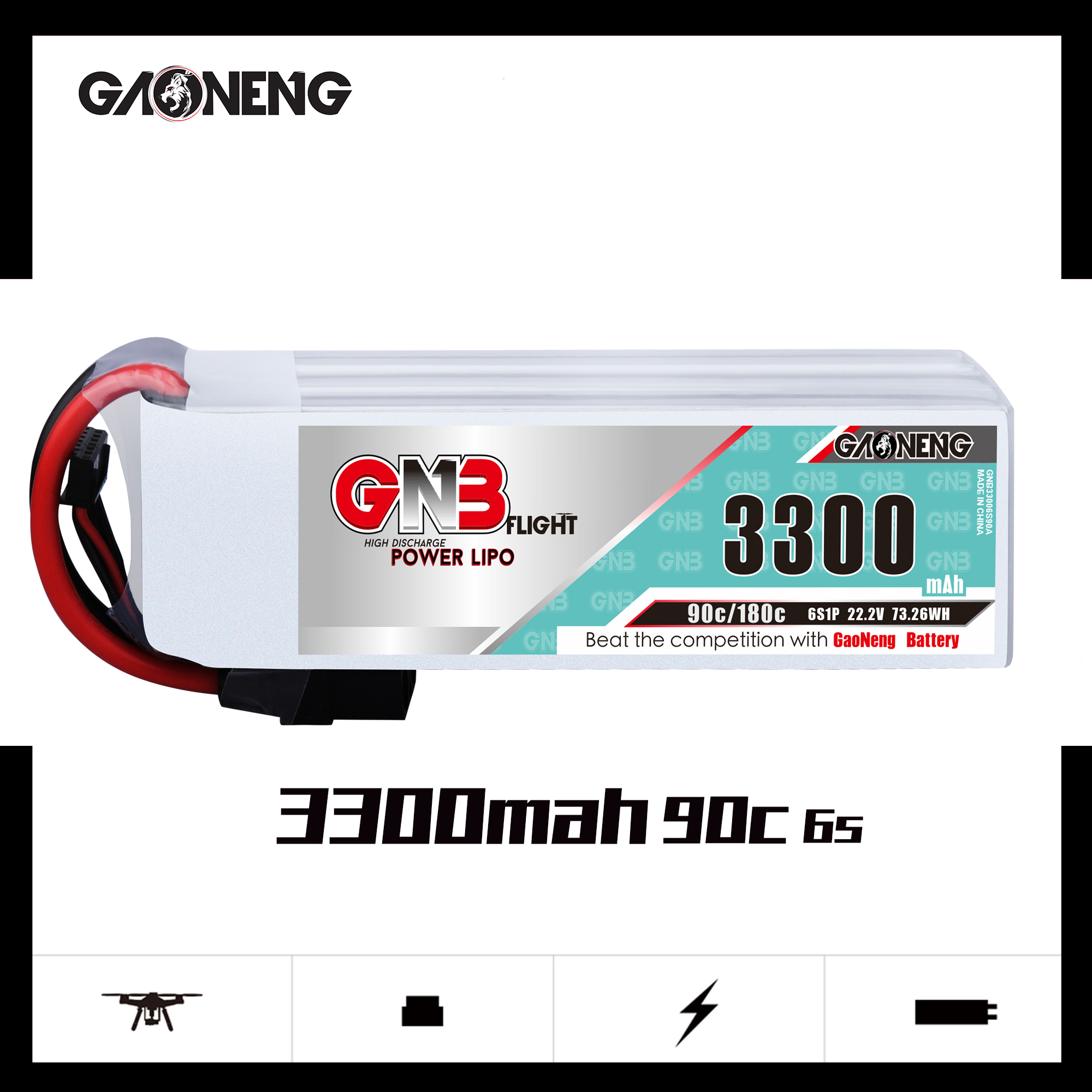 GNB 6S 3300MAH 90C LIPO BATTERY