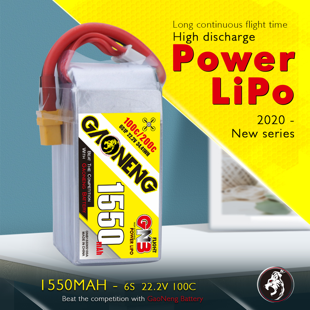 GNB 6S 1550MAH 22.2V 100/200C LIPO BATTERY