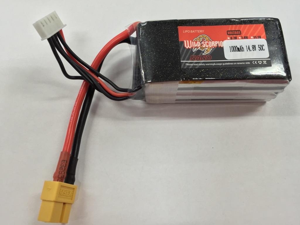 Wild Scorpion 4S 14.8V 1000mah 50C Li-Po Nano Battery - XT-60 Plug - SNHE
