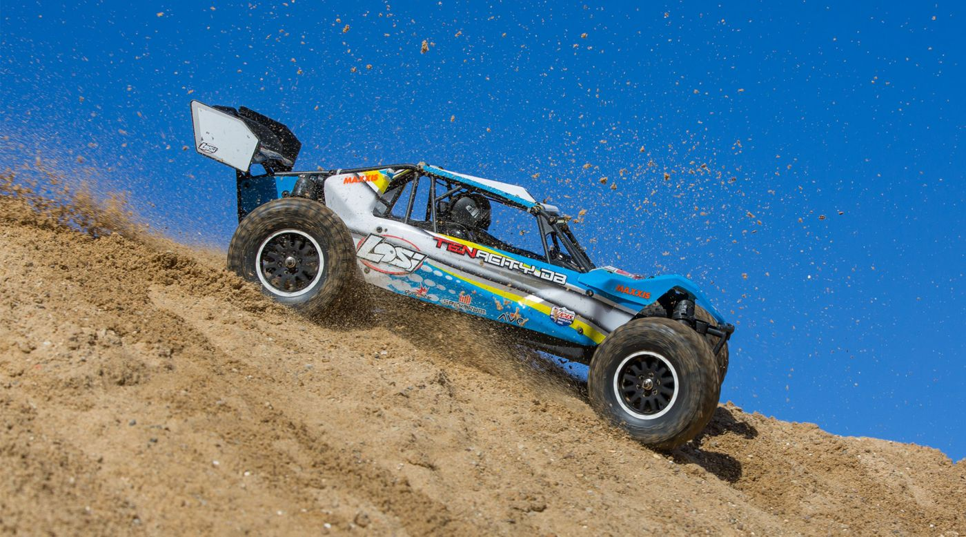 Losi 1/10 TENACITY-DB 4WD Desert Buggy RTR with AVC, Blue/Yellow - SNHE