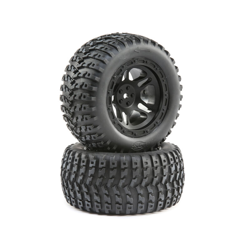 Losi 1/10 Front/Rear 2.8 Pre-Mounted Tires, 12mm Hex, Black (2): 22S ST