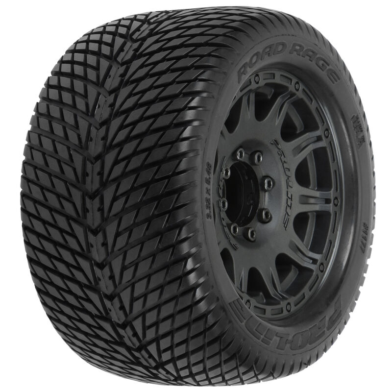 "Proline Racing Road Rage 3.8"" Mounted Raid MT Tires, 8x32 17mm (F/R)"