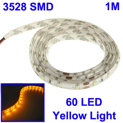 Epoxy Waterproof 3528-SMD Yellow Light LED Strips - 1 METER