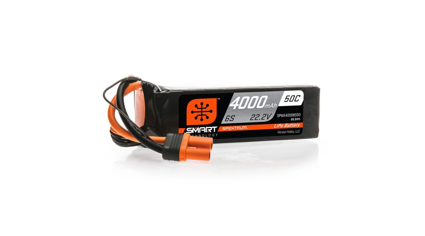 Spektrum 22.2V 4000mAh 6S 50C Smart LiPo Battery, IC5 - SNHE