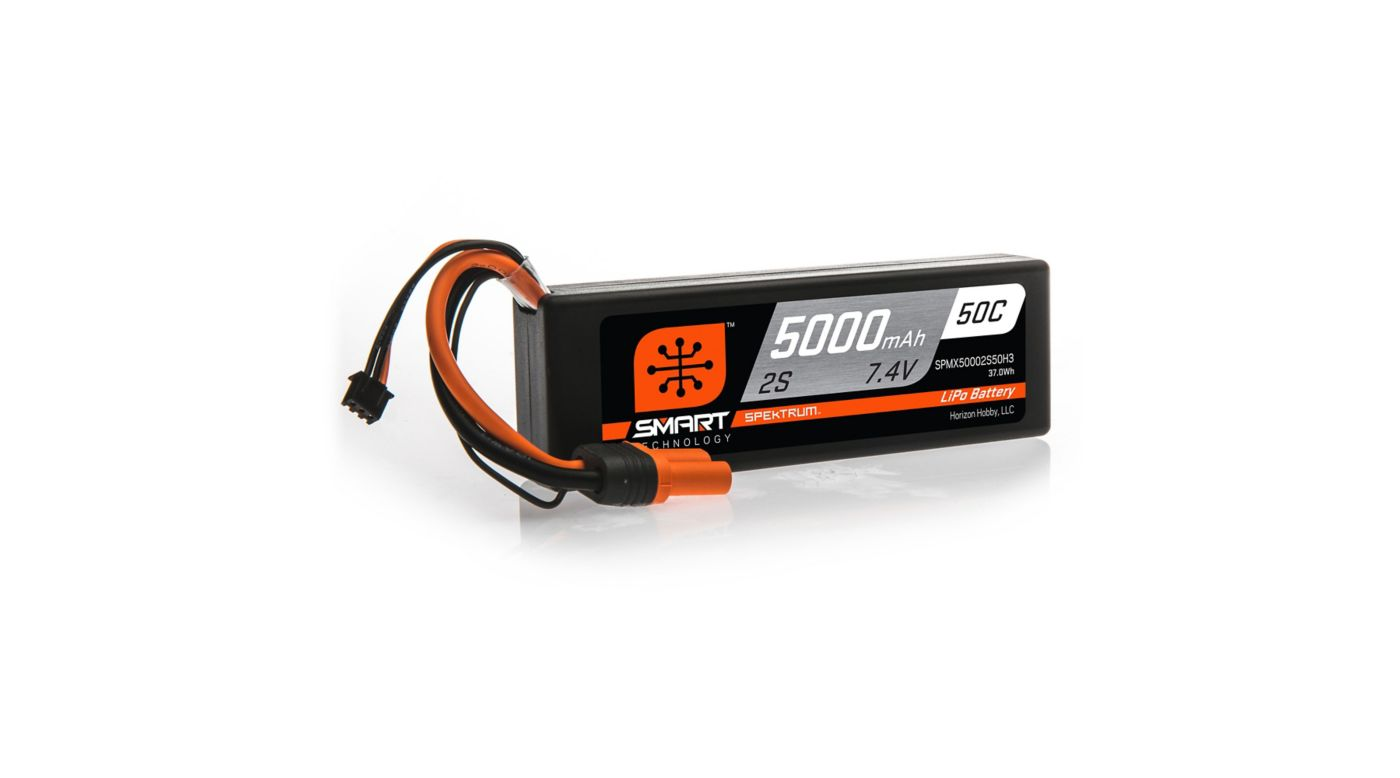 Spektrum 7.4V 5000mAh 2S 50C Smart Hardcase LiPo Battery: IC3