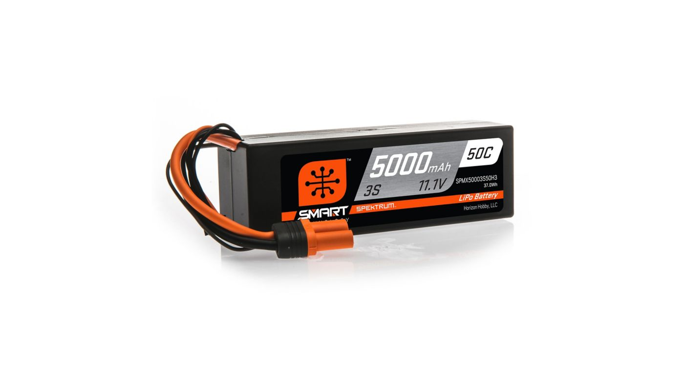 Spektrum 11.1V 5000mAh 3S 50C Smart Hardcase LiPo Battery: IC5