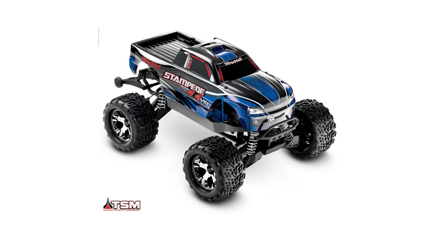 Traxxas 1/10 Stampede VXL 4WD Monster Truck Brushless RTR with TSM, Blue