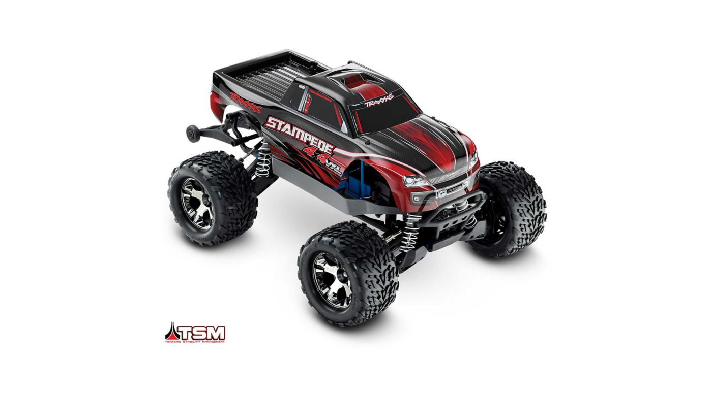 Traxxas 1/10 Stampede VXL 4WD Monster Truck Brushless RTR with TSM, Red