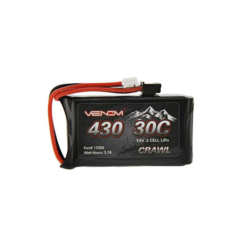 Venom 7.4V 430mAh 2S 30C LiPo Battery, JST-PH 2.0: SCX24