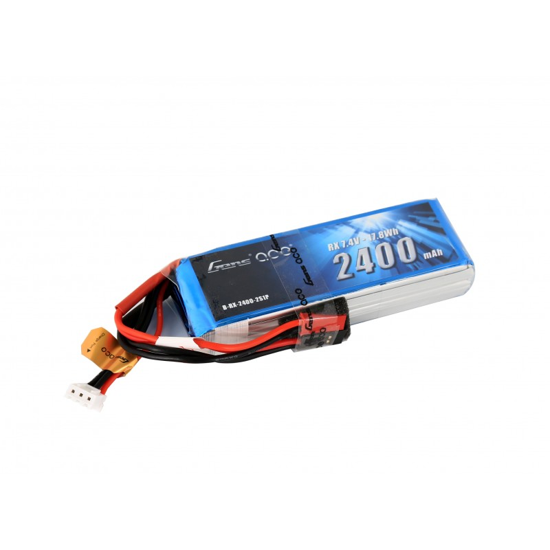 Gens Ace 2400mAh 7.4V RX 2S1P Lipo Battery Pack with JST-SYP plug - SNHE