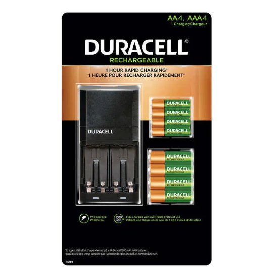 Duracell Ion Speed 4000 Charger Kit with 4 × AA Batteries and 4 × AAA Batteries