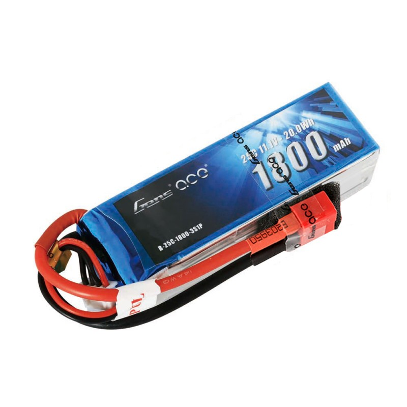 Gens ace 1800mAh 11.1V 25C 3S1P Lipo Battery Pack with Deans plug - SNHE