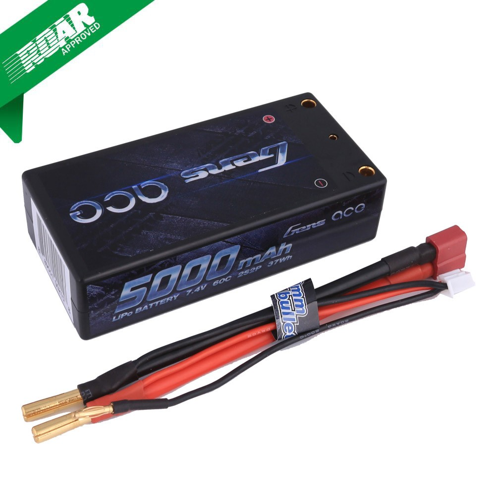 Gens Ace 5000mAh 7.4V 60C 2S2P HardCase Lipo Battery Shorty Pack 29# with 4.0mm bullet to Deans plug