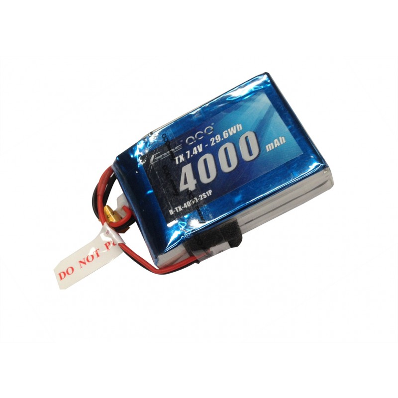 Gens ace 4000mAh 7.4V TX 2S1P Lipo Battery Pack with JST-EHR plug - SNHE