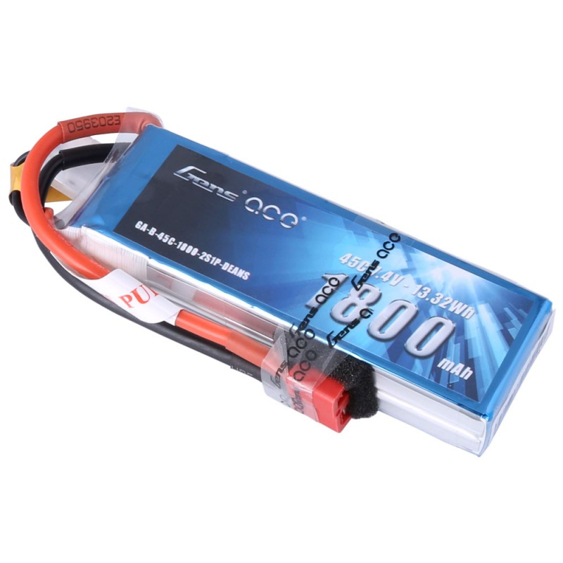 Gens Ace 1800mAh 7.4V 45C 2S1P Lipo Battery Pack with Deans Plug