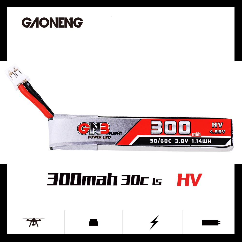 GNB 1S HV 300MAH 3.85V 30/60C LIPO BATTERY (w/Cable)