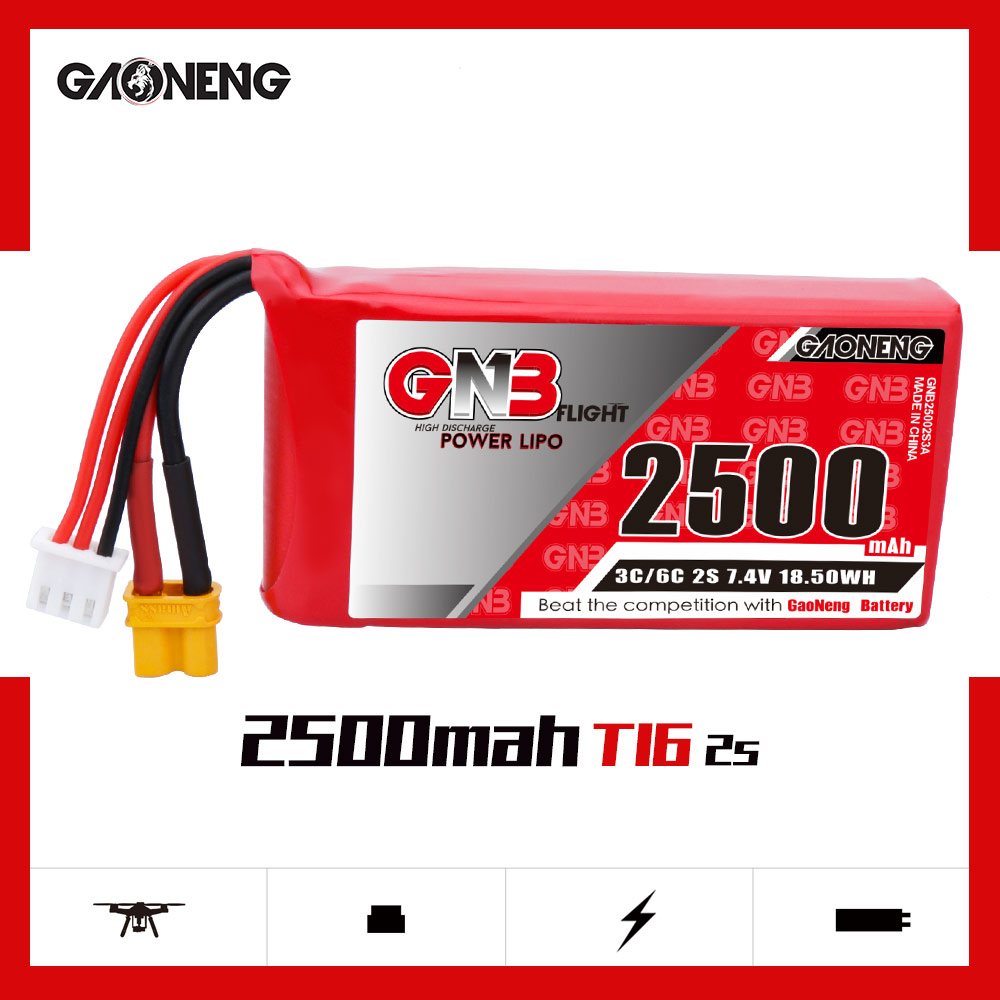 GNB 2S 2500MAH 7.4V LIPO BATTERY For Jumper T16 / RADIOMASTER TX16S