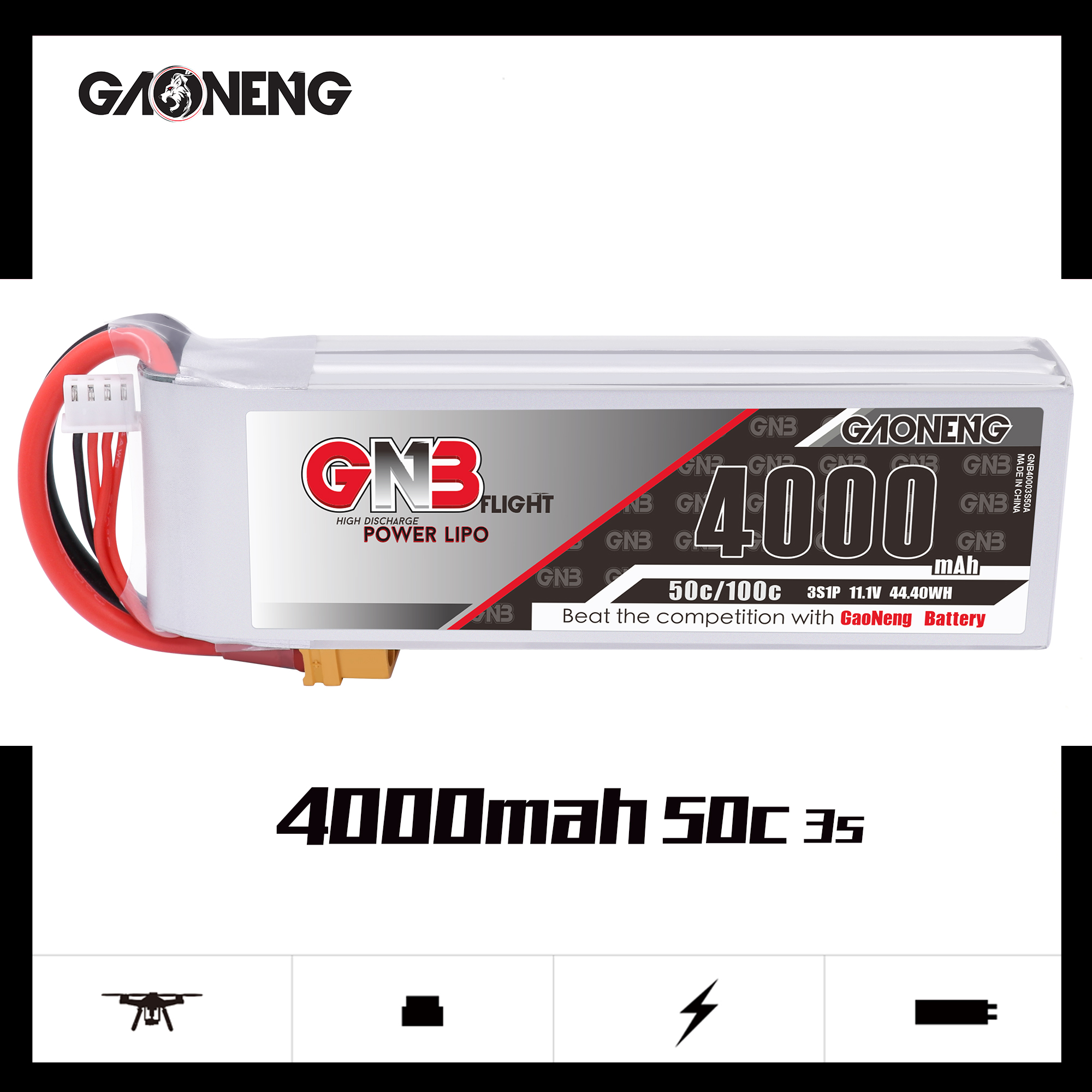 GNB 3S 4000MAH 50C LIPO BATTERY