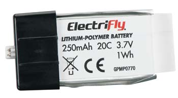 Great Planes LiPo 1S 3.7V 250mAh 20C Electrifly Plug In