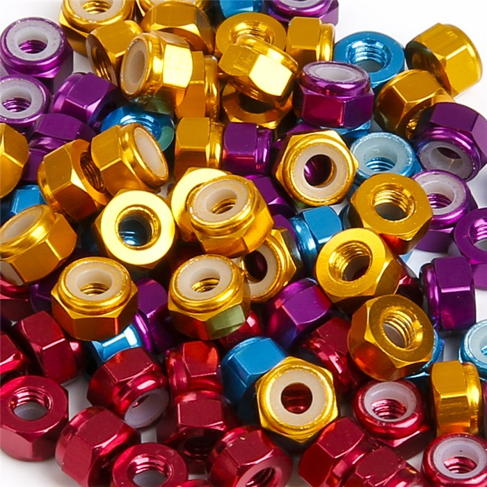 M3 Alum Alloy Nylon Insert Hex Lock Nuts - <b>Gold</b> 2pcs - SNHE