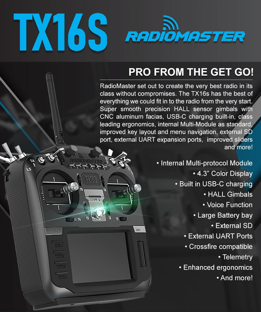 "Radiomaster TX16S (w/Hall Sensor) 16ch 2.4ghz Multi-protocol OpenTX Radio <font color=""red""><b>(PREORDER)</b></font>"