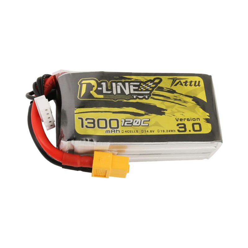 Tattu <b>R-Line Version 3.0 1300mAh</b> 14.8V 120C 4S1P Lipo Battery Pack with XT60 Plug
