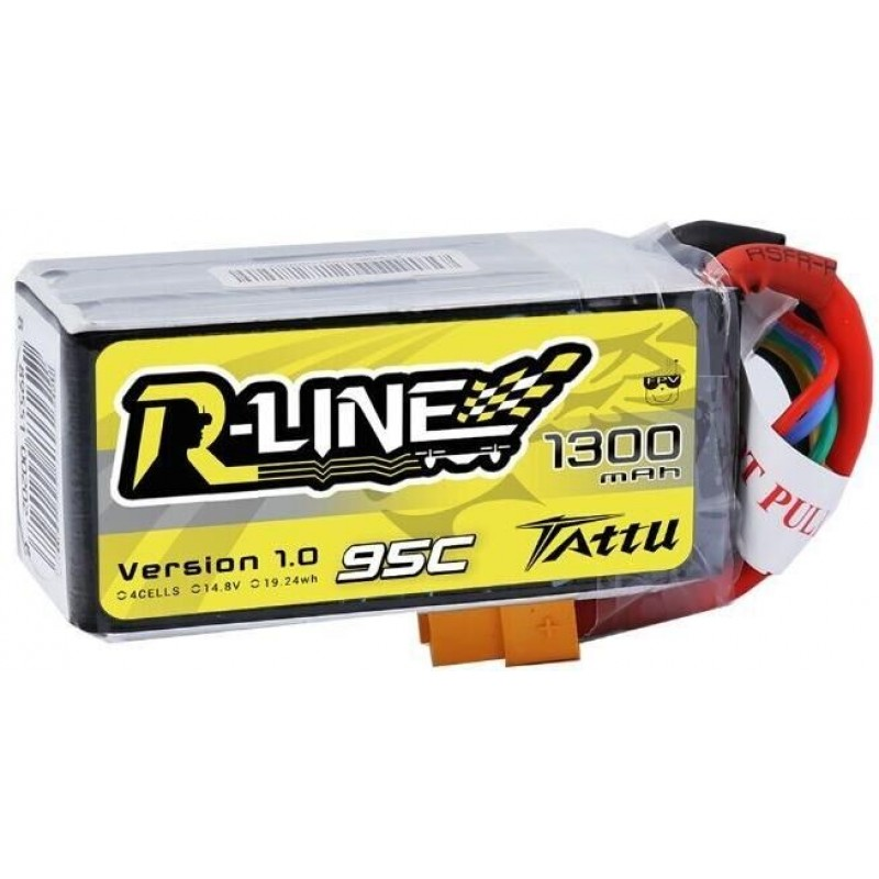 Tattu <b>R-Line 1300mAh</b> 14.8v 95C 4S1P lipo battery pack with XT60 Plug - SNHE