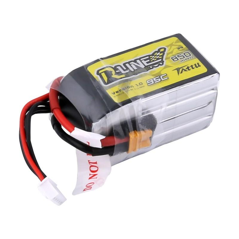 Tattu <b>R-Line 850mAh</b> 14.8V 95C 4S1P Lipo Battery Pack with XT30 Plug