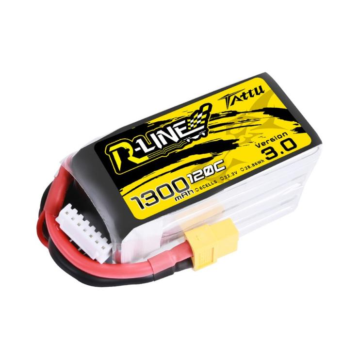 Tattu <b>R-Line Version 3.0 1300mAh</b> 22.2V 120C 6S1P Lipo Battery Pack with XT60 Plug - SNHE